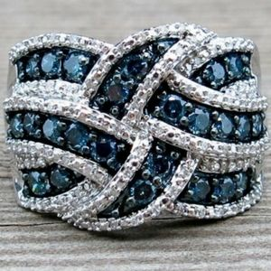 925 Sterling Silver Sapphire Diamond Braided Ring